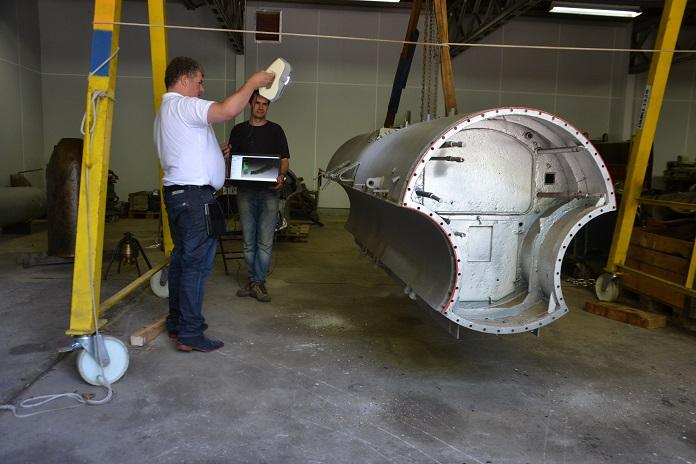 łódź podwodna - skanowanie skanerem 3D Artec Ray
