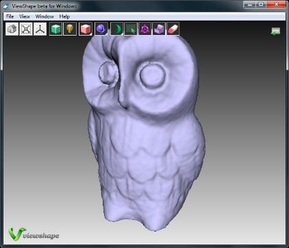 Widok modelu sowy na darmowej przeglądarce plików 3D
