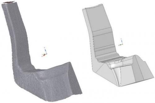 Chmura punktów i model CAD detalu