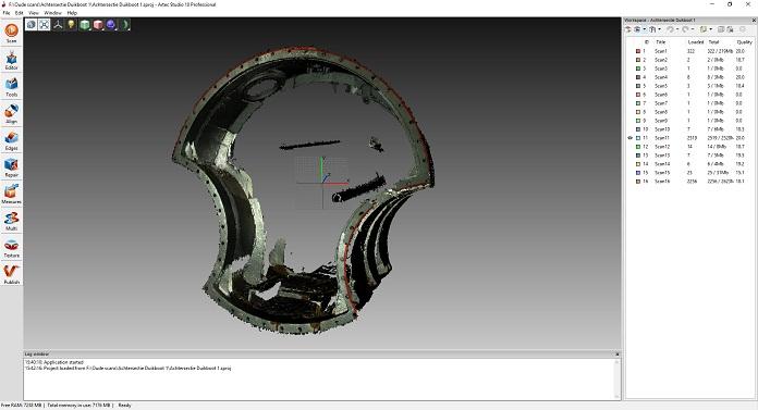 Skan 3D elementu łodzi podwodnej widok w oprogramowaniu